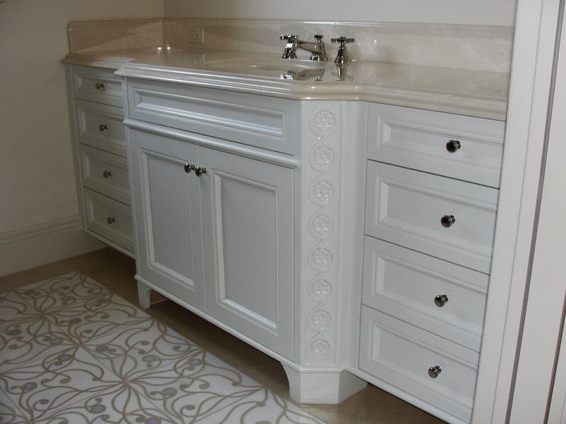 guest room bathroom cabinetry in white