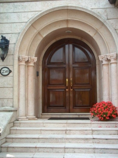Custom door three panel entry double doors.