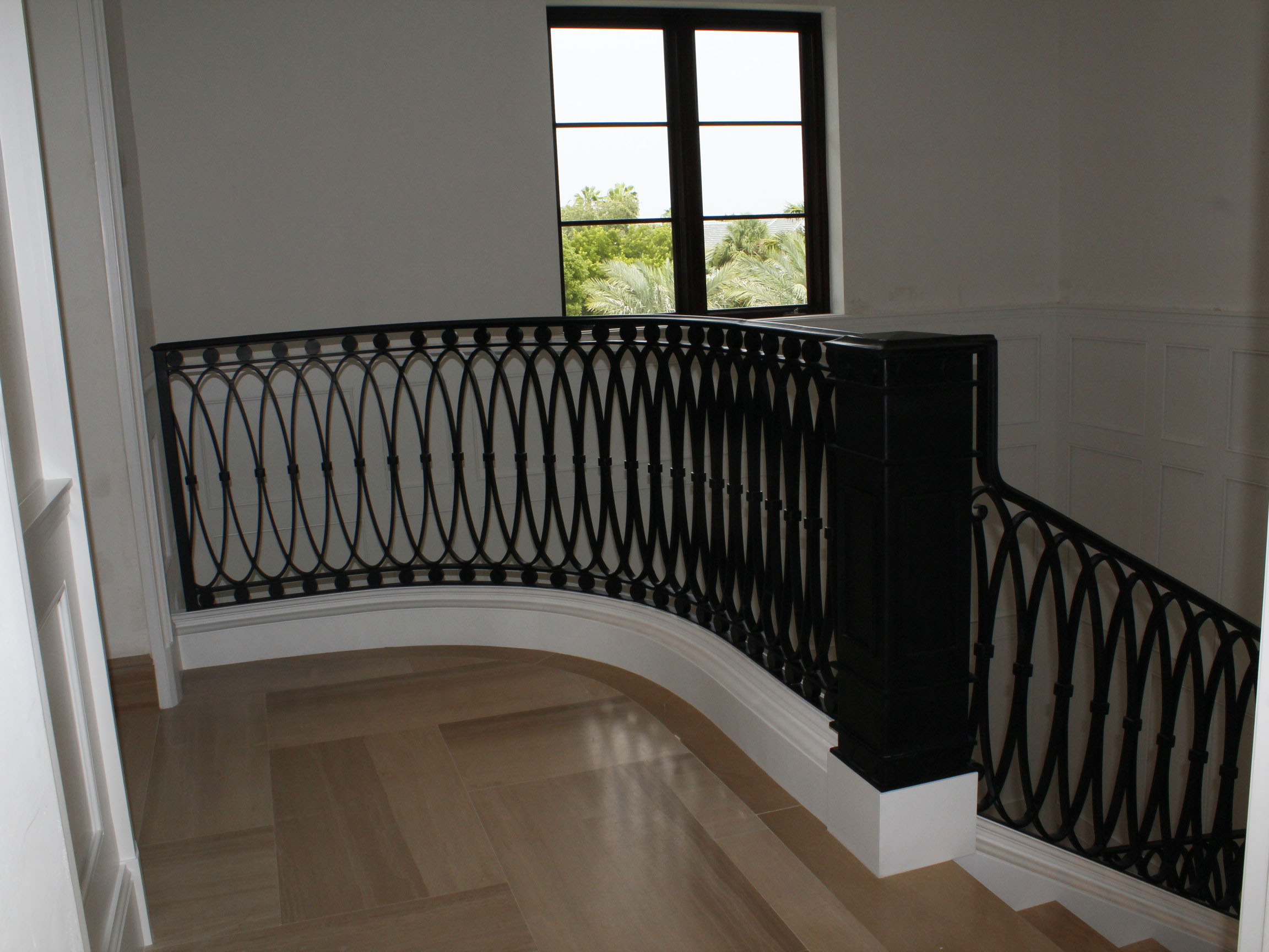 The second floor view of the spiral staircase.