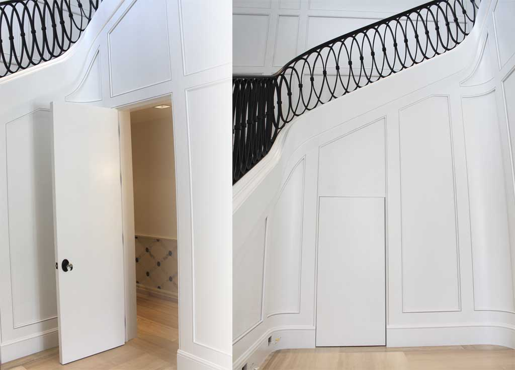 Milled, finished & installed the wood paneling & JIB doors that flank and curve this uniquely designed spiral staircase.