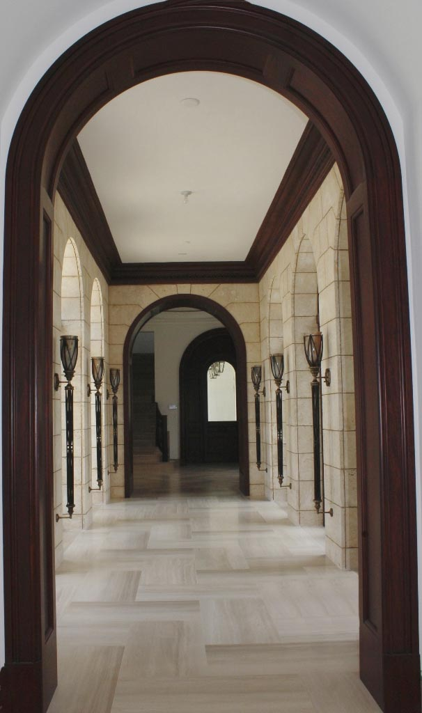 Solid mahogany paneled cased openings for archways and doors.